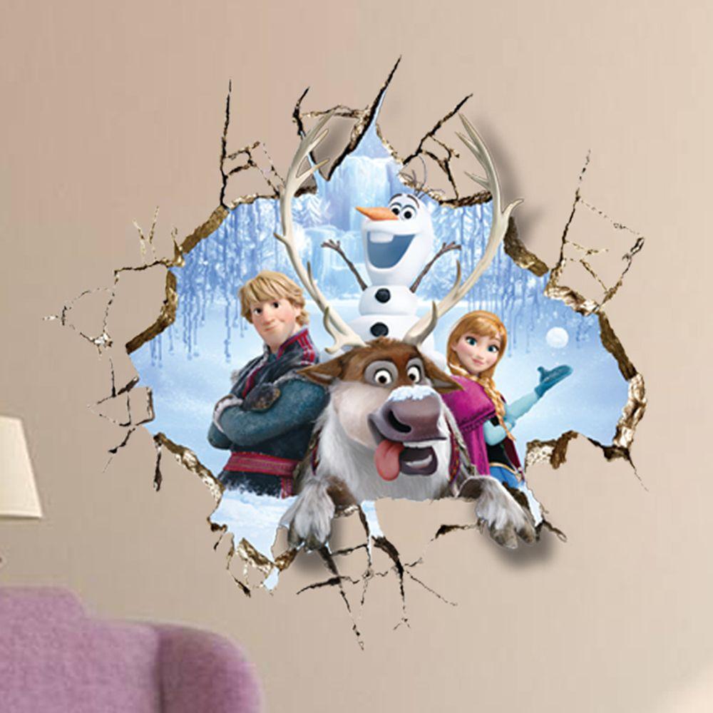 2015 Newly Frozen 3d Broken Hole Wall Anna Wall Stickers