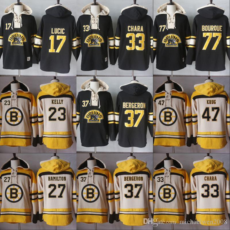newest 0137c 15654 Men Hoodies 77 Ray Bourque 17 Milan Lucic 33 Zdeno Chara 37 PatriceBergeron  Boston Bruins Hoodies Jerseys Sweatshirts