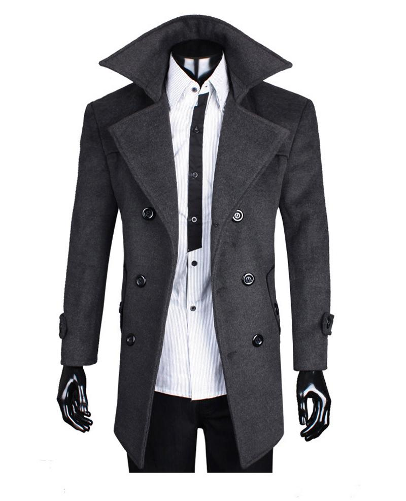 2017 New Elegent Wool Long Coat Jacket Blazer Outdoor Big Size Men ...