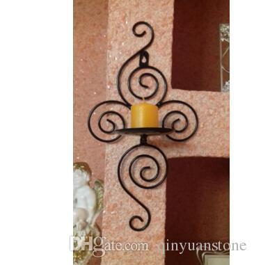 Żelazne rzemiosło Home Decor Wesele Dekoracje Świeca Posiadacze Ściana Świeca Stojak Dekoracje Ścienne Krótki Design Deocration