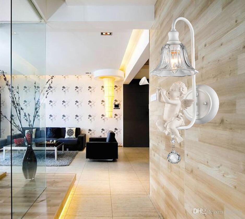 Testa della lampada da parete in resina di vetro a camera da letto singola.  Lampada da parete Nordic E14. Lampada da comodino per camera da letto di ...