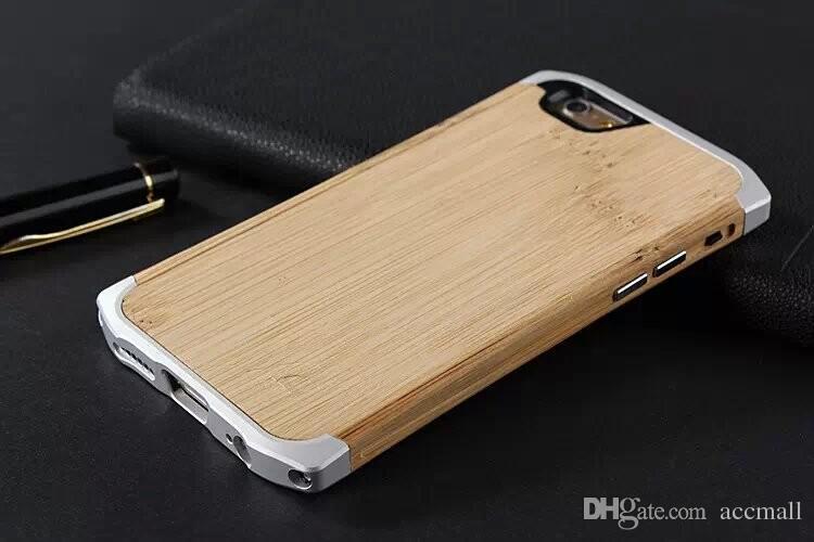 Naturlig trä bambu aluminium metall hybrid ram stötfångare liten midja klyva hårt tillbaka väska läderpåse för iPhone 6 6s plus 4,7 5,5