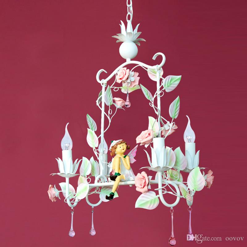 Pastoral Flowers Princess Room Pendant Lamp Cute Angel Candle Bedroom Hanging Lamps Girl's Room Pendant Lights