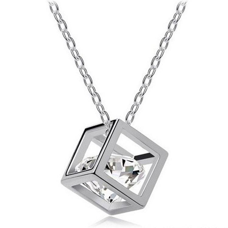 Wholesale 925 sterling silver pendants female love cube square wholesale 925 sterling silver pendants female love cube square block love pendants single zircon red pendant necklace custom jewelry from longxing01 mozeypictures Choice Image