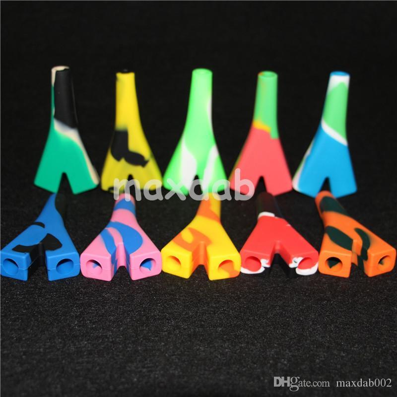 2 tubos de silicona para fumar tubos de mano Cuchillo de vidrio Cuchara Cuchara Pipa Cachimba Bongs de varios colores aceite de silicona plataformas de silicona colector de néctar de silicona