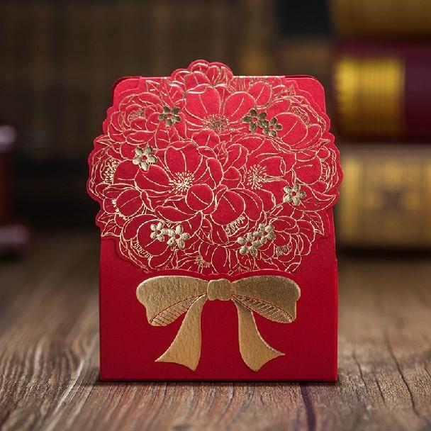 Gold Floral Printed Wedding Favors Boxes 2015 New Red Bridal