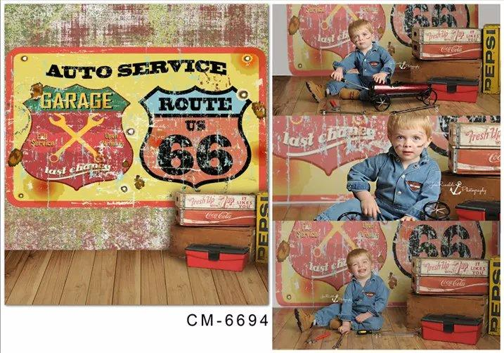 5X7ft AUTO SERVICE ROUTE 66 Photography Studio Backgrounds For Photos Muslin Computer Printed Vinyl Backdrop Senior Background