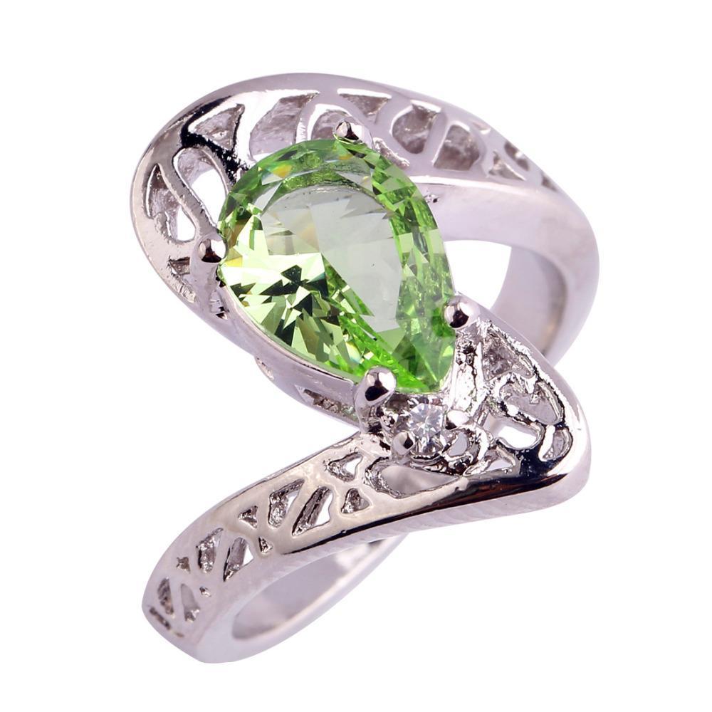 un'altra possibilità prezzo interessante come acquistare L anello d argento ametista verde chiaro di taglio della pera di Shinning  taglia la dimensione 6 7 8 9 anelli di gioielli Regalo delle donne  Trasporto ...