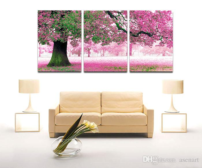 Cherry Maple Lake Charming 3 Panels Landscape Modern Beautiful Wall Oil Painting Printed On Canvas For Bedroom Living Room Home Decoration