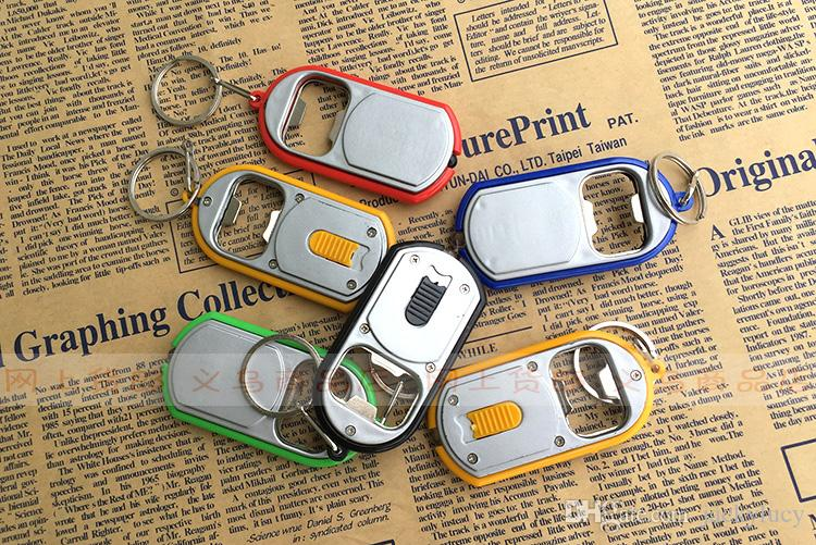 Personalized Logo Unique Favors Fashion Bottle Opener LED Light Rings Keychains Key Chain For Wedding and Promotional Gifts