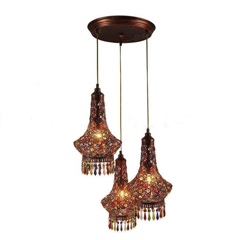 LAI080 3 Heads LED Crystal Pendant Chandeliers Lights Lamps FixturesAC110 240 Modern Bronze Iron European Retro Dining Room