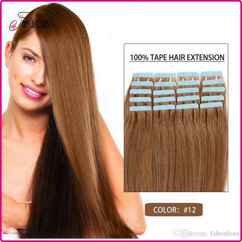 Wholesale 12 Brazilian Human Hair Tape Hair Extensions Pack 16