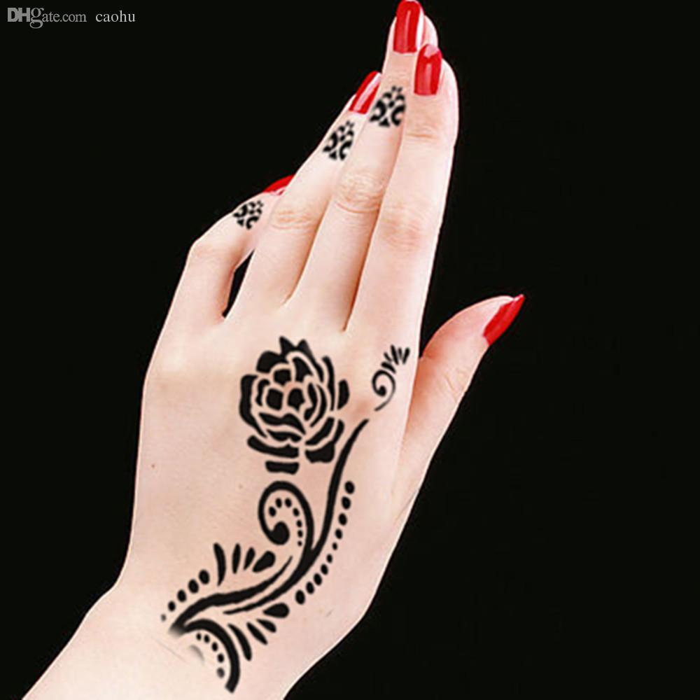 Wholesale Body Hand Leg Paint Art Henna Stencil Mehndi DIY Tattoo Templates Indian Ornament Stencils Bga