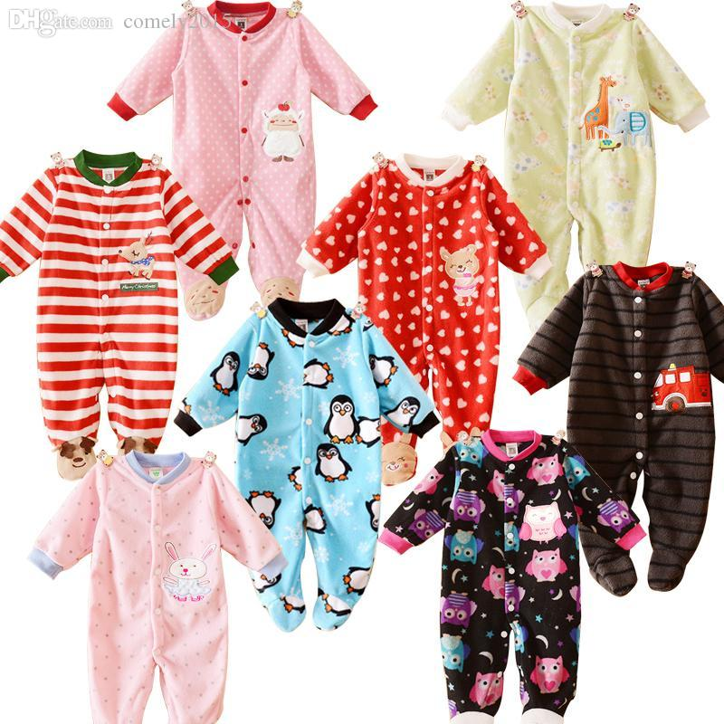 2018 Wholesale Newborn Baby Clothing Boy Girl Footed Rompers Animal
