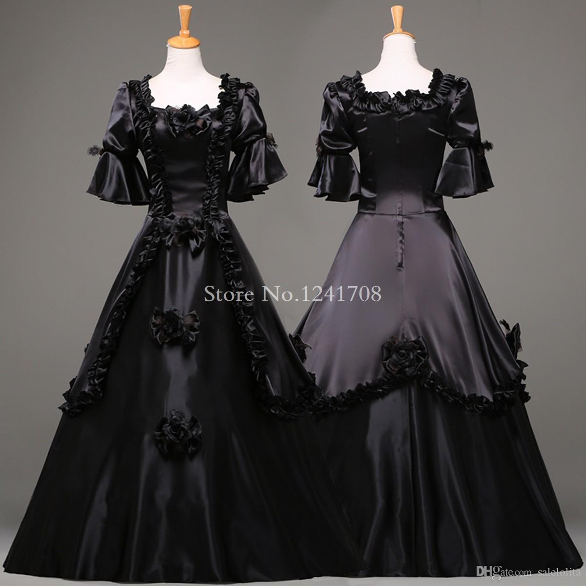 fe85332108c Custom Black Vintage Gothic Rococo Ball Gown Adult Halloween Party Dresses  For Women Baroque Colonial Masquerade Dress Costume Boys Halloween Costume  ...