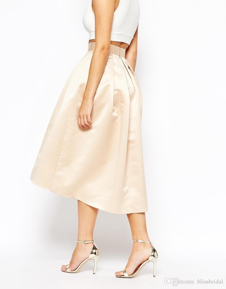 Fashion Champagne Skirts Satin Puffy A line Party Dresses High LOW Knee Length Women Formal Skirts 2016 Custom Made Prom Gowns