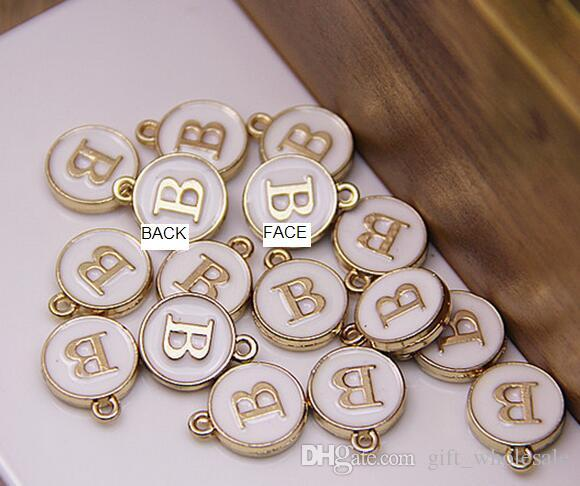 Letters Stamped Initial Charm Pendants GOLD Plated White Drip on Double Sides 12*15mm Round Disc Letter Alphabe for necklace