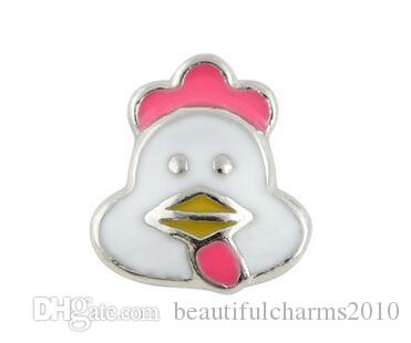 20PCS/lot Cute Chicken Hen Alloy Floating Locket Charms Fit For DIY Magnetic Glass Living Memory Locket Best Gift