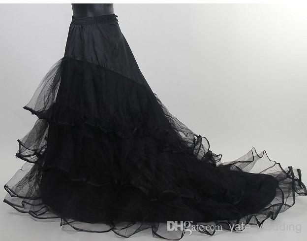 In Stock Black Skirt Wedding Petticoat Cheap Long Tulle Bridal Crinoline For Dress With Chapel Train Charming Slip Bridal Skirts
