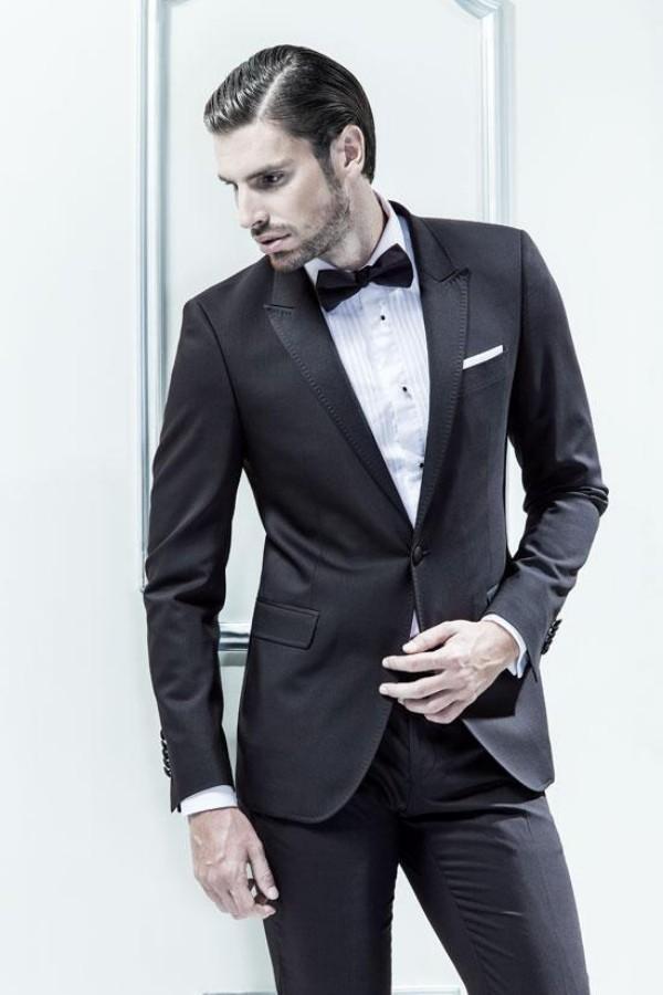 Toptan Satış - En Kaliteli Bir Düğme Tepe Yaka Damat Smokin erkek Gelinlik Balo Giyim Custom Made Ceket + pantolon