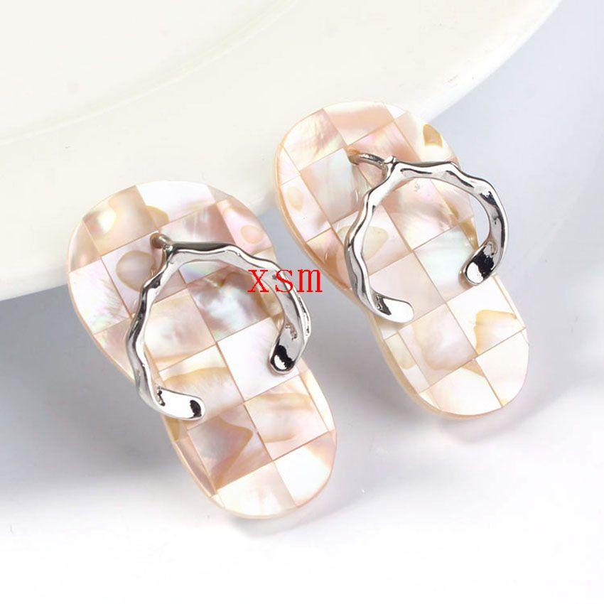 10 unids Natural Nueva Zelanda Abulón Shell Zapatillas Colgante Collar de Granos Del Encanto Joyería de Moda Para Hombres 41x23mm