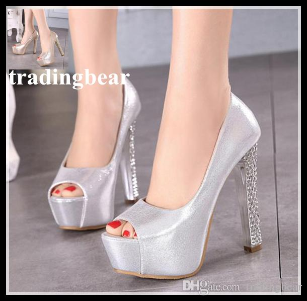 b49afc2a9e9 Luxury Wedding Shoes Gold Silver Peep Toe Platform High Heels Sexy Women  Pumps Size 34 To 30 Moccasins For Men Suede Shoes From Tradingbear