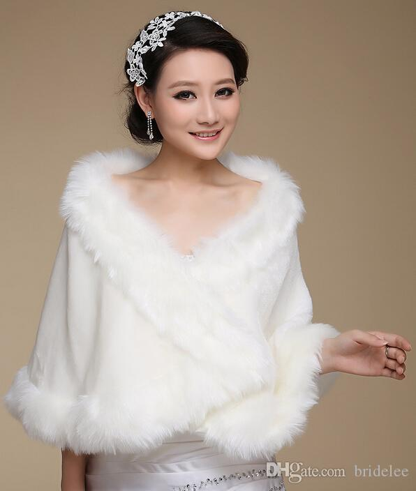 Best White Faux Fur Wedding Shawl Warm Winter Jacket Bridal Bride