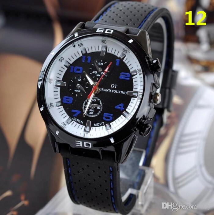 2017 Moda GT Reloj Grand Touring F1 Hombres reloj deportivo luxurysport hombre relojes militares Correa de Silicona Reloj de pulsera de Cuarzo caliente