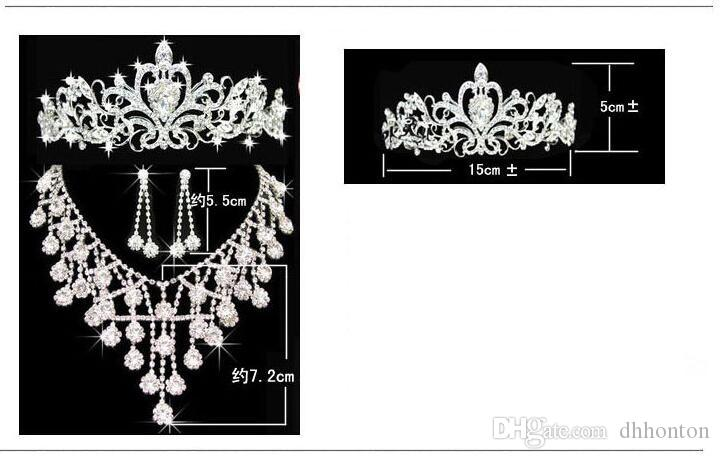 Tiaras gold Tiaras Crowns Wedding Hair Jewelry neceklace,earring Cheap Wholesale Fashion Girls Evening Prom Party Dresses Accessories