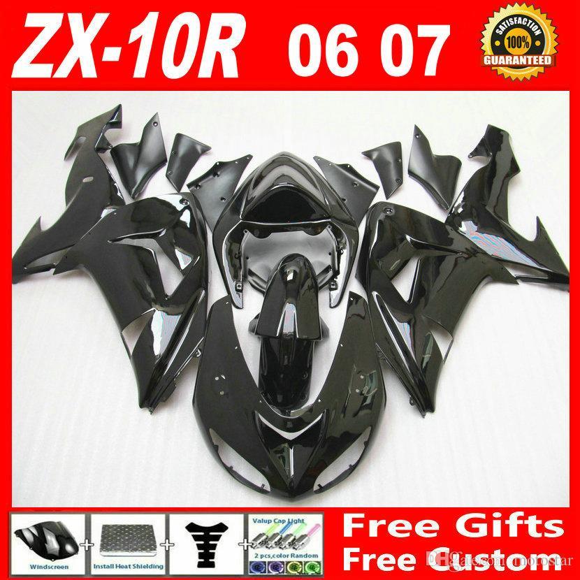 7 gifts ! Whole glossy black custom fairing kit FOR Kawasaki ninja ZX-10R  2006 2007 ZX10R bodywork 06 07 ZX 10R fairings