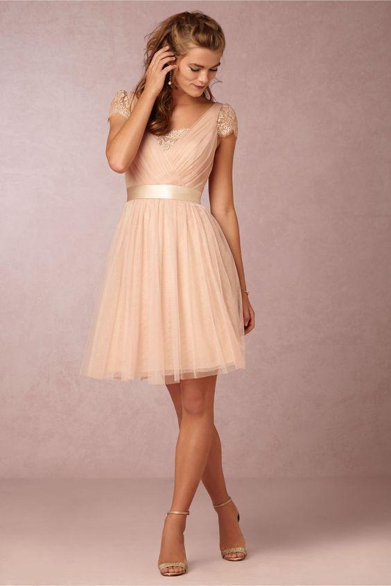 Nude Homecoming Dresses Cheap 2016 Sash Ribbon Short Sleeve Lace