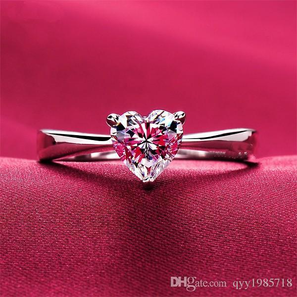 Marca Corazón Anillo de Joyería Anillo de Diamantes de Corazón Sintético 1CT Solitario Mujeres Joyería de Plata Esterlina Compromiso Amor Fecha Anillo