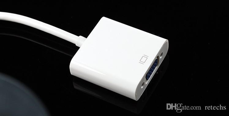 حار جديد apple mini displayport إلى محول vga محول الفيديو لجهاز تلفزيون ضوئي dv dhl شحن مجاني