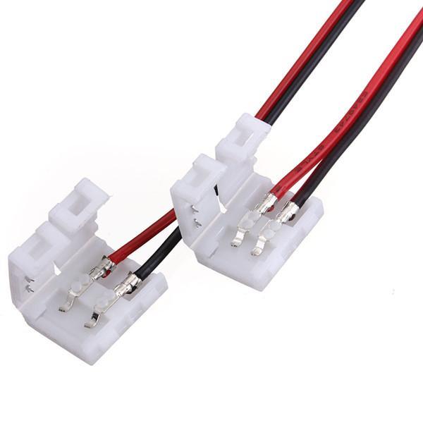 10mm 3528 5050 단색 LED 스트립 조명 솔더리스 1 엔드 용 2 핀 커넥터 어댑터가있는 고품질 10x 와이어 주문