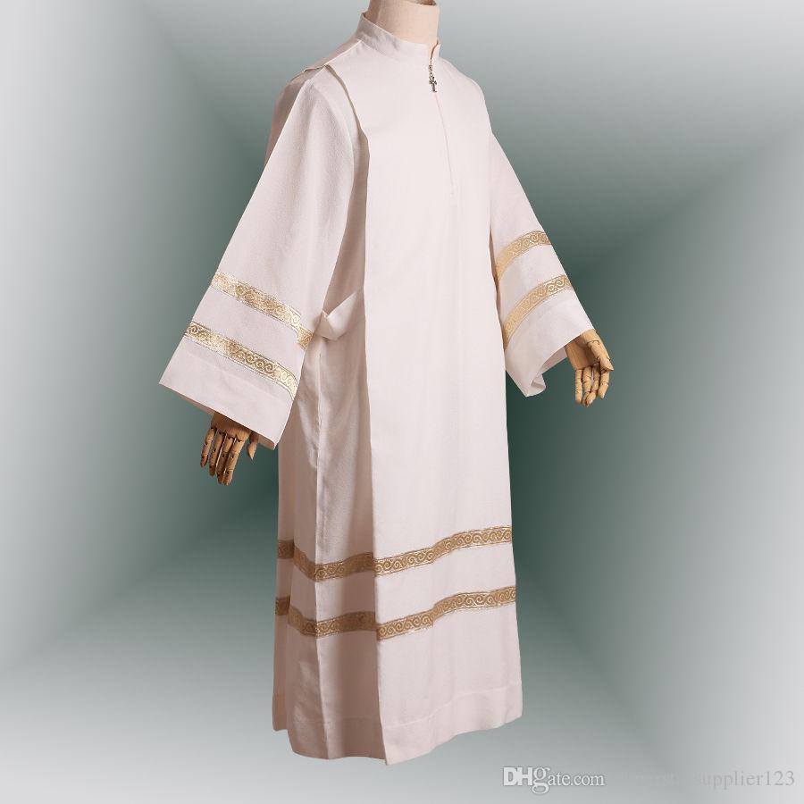 Religië Kostuums White Altar Server Robe Alb met plooien Katholieke aanbiddingswedstrijden voor Mannen Snelle verzending