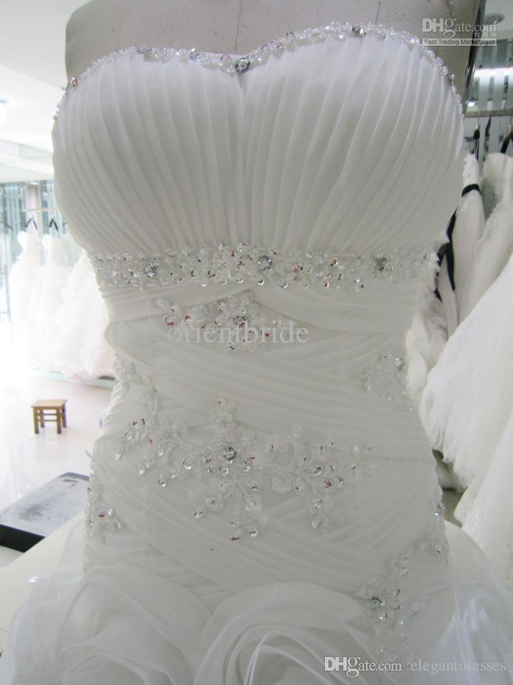 실제 이미지 봄 2021 화려한 흰색 꽃 웨딩 드레스 빈티지 연인 신부 드레스와 레이스를 A 라인 채플 기차 아랍어