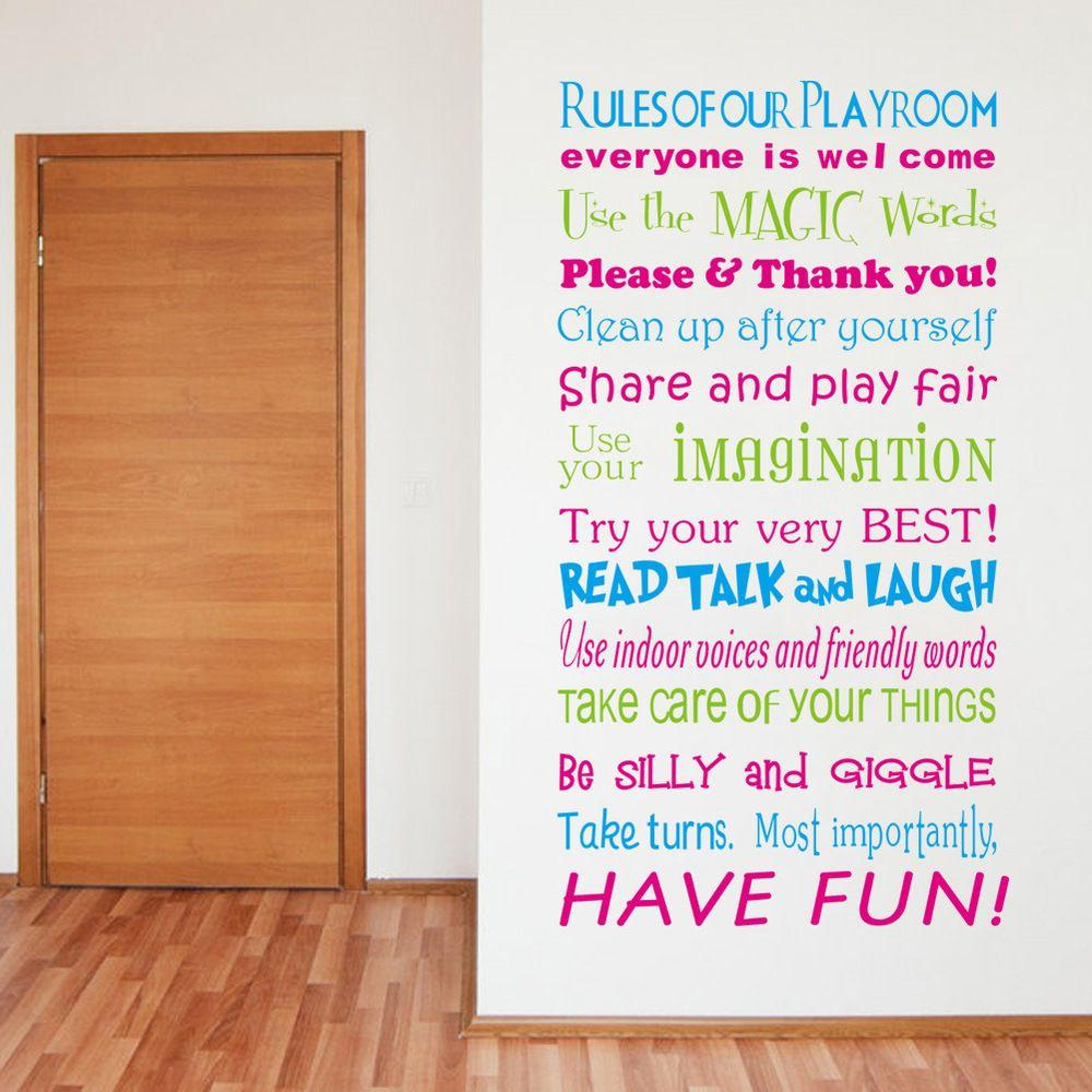 ZY8332 English House Rules/playground Rules Bedroom Living Room Background  Wall Sticker