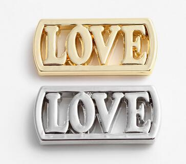 Silver Gold Plated Alloy LOVE Letter Floating Window Plates Fit For 30mm Magnetic Glass Charms Locket