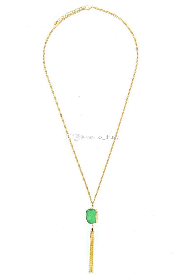 Bohemian Resin Druzy Drusy Necklace Gold Metal Chains Tassel Irregular Imitation Crystal Sweater Necklace Christmas gift