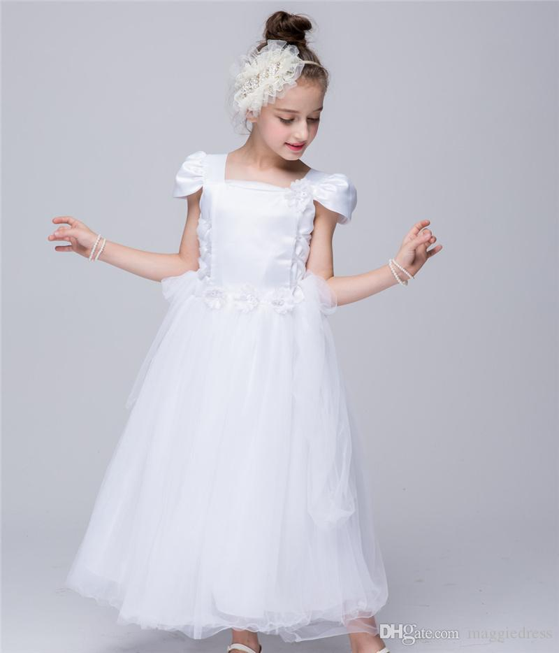 Short Straight-Neckline Lace Floor-Length Kids Princess Flower Girls Dress Ball Gown Party