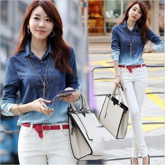 3ebc787558f 2019 New 2015 Spring Women Denim Shirt Long Sleeve Cotton Blouse Girls Plus  Size Gradient Pattern Fashion Jean Blusas Femininas From Jinmei02