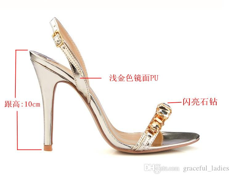 Gold/Silver Crystal Wedding Shoes Slingbacks Women One-strap Summer Style Ladies Sandals Daily OL Sandals For Brides Shoes Large Size 11