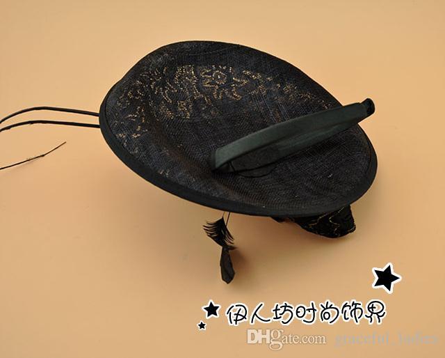 Biege sinamay cappelli da sposa cappelli da sposa in pizzo di alta qualità cappelli da festa all'ingrosso fabbrica vendono spedizione gratuita cappelli fascinator grande cappello da cocktail