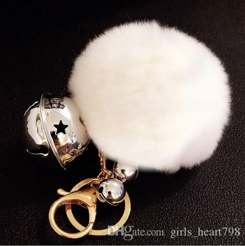 Fashion Wholesale Rex Rabbit Hair Fur Bobble Pompom Ball Toys Metal Keychains for Handbag Key Chain Ring Pendant Jingle Bell Christmas Gift