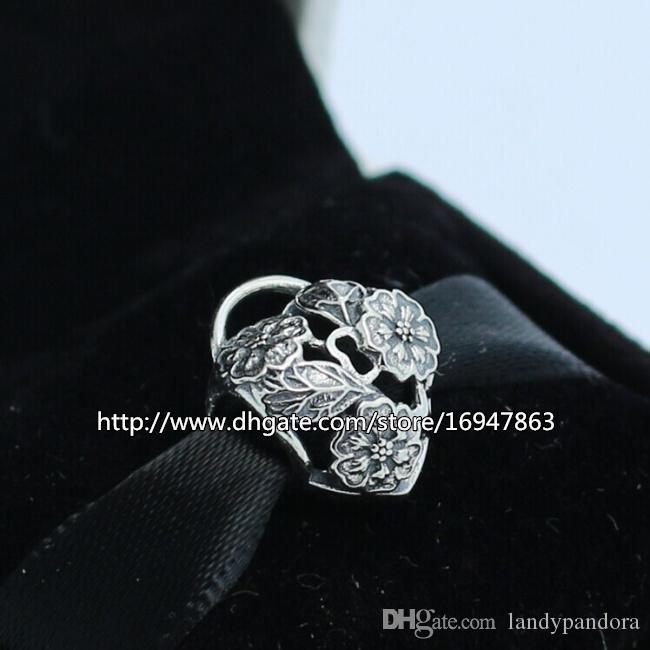 S925 Стерлингового Серебра Ажурные Цветочные Сердца Замок Шарм Бисера Подходит Европейский Pandora Ювелирные Браслеты Ожерелья