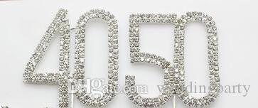 Silver Diamante Rhinestone Cake Topper Birthdays Wedding Numbers Crystal Stick Cake Accessories Party Decor