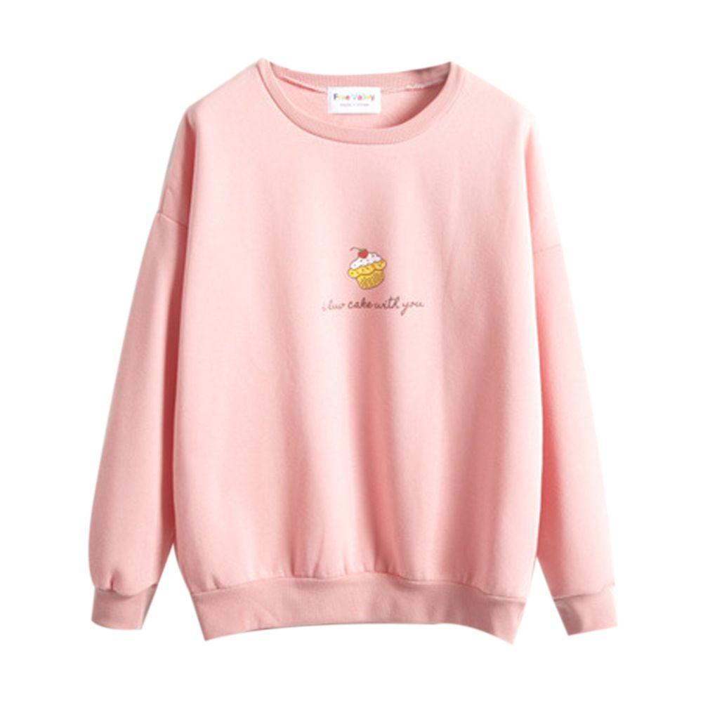 2016 New Korean Ice Cream Cute Hoodies Women Lovely Tops Pink Sweatshirt Fleece Shirt Warm Pullover Plus size Women Clothing