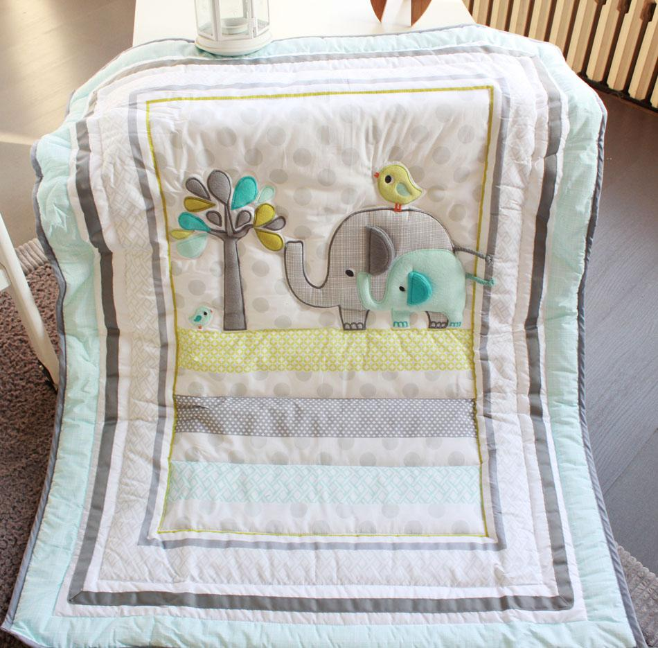 Wholesale 2016 Baby bedding set Embroidery 3D elephant bird Crib bedding set include Quilt Bed skirt Quilt Bumper Cot bedding set