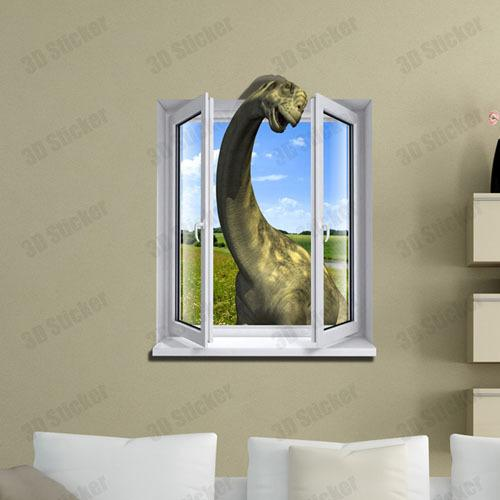 Fake window dinosaur 3d printer removable wallpaper wall mural sticker decoration art decals vinyl stickers home decor wall decorations stickers wall