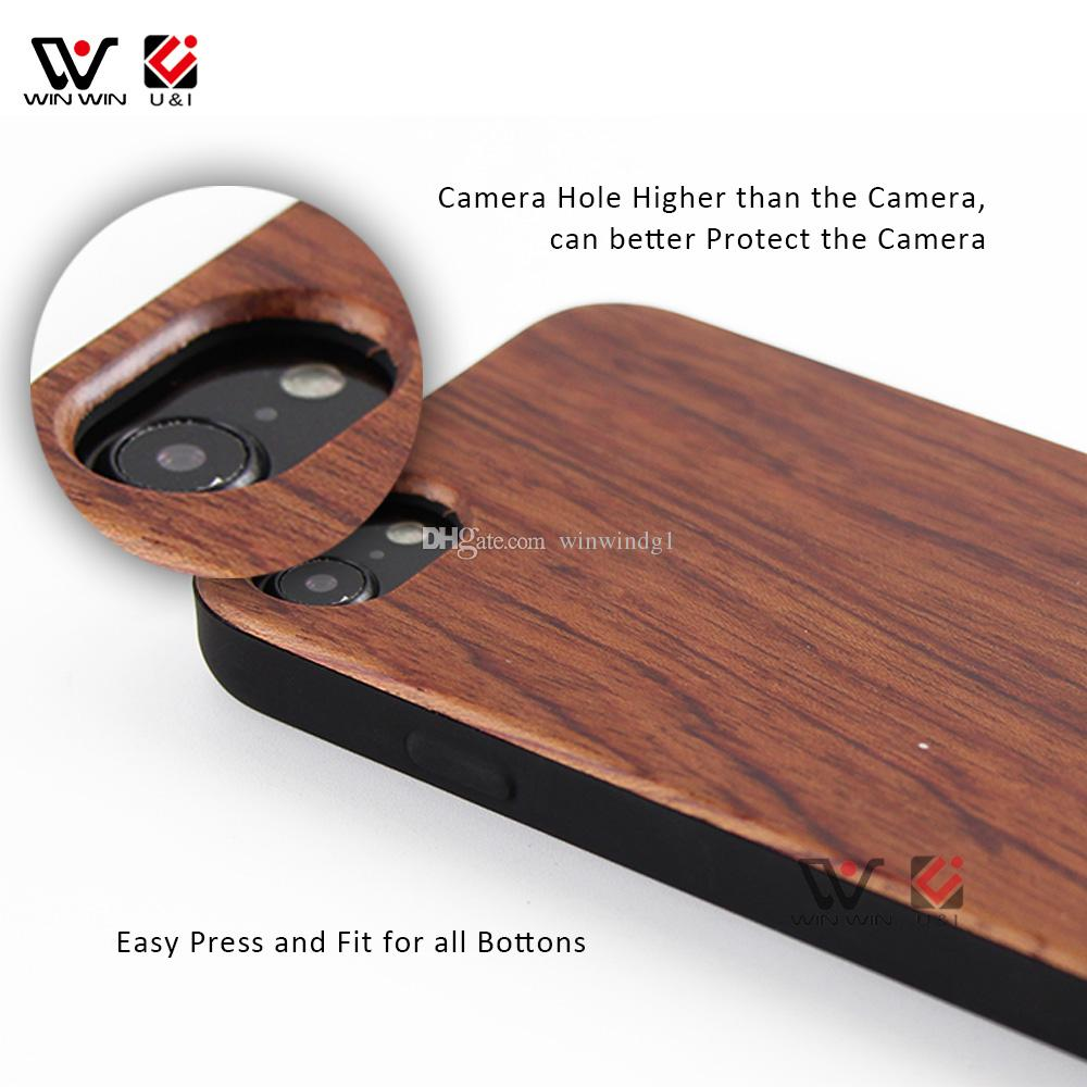 Geniune Wood Layer Case for iPhone Apple 6 7 8 Universal Model Full TPU Rubber Coating Cell Phone Cover Red Color Shell Shockproof
